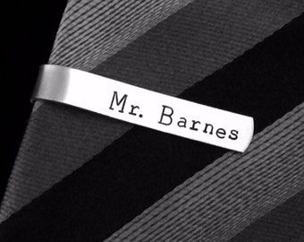 Personalized SKINNY Tie Clip or choose your own wording-  Hand stamped -  great for a gift