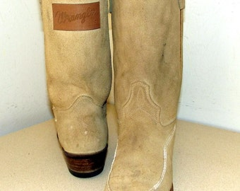 Vintage Wrangler Cowboy Boots with Wrangler Jean patches on back