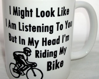 In My Head Im Riding My Bike Novelty Cycling Coffee Tea Mug