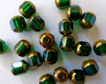 Vintage Czech Emerald Green & Gold 12 Cut Fire Polished Faceted Cathedral Beads - 6mm  (12)