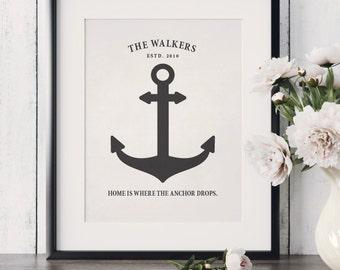 Customized Family Established Print Custom Anchor Print Nautical Wedding Art Print Family Name Print Nautical Anniversary Art Print