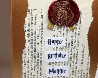 Harry Potter inspired greeting card. Happy B day muggle, expecto patronum card, hogwarts card. Harry Potter card. Choose words. For muggle