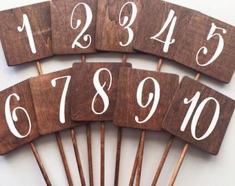 Wedding - Wood Rustic Table Numbers  Sqaure