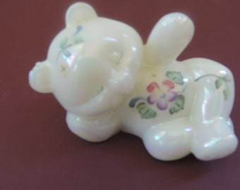 Fenton Opalescent Art Glass Bear Hand Painted Signed Vintage