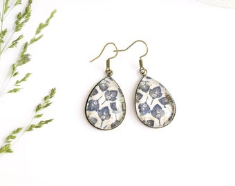 Blues ethnic earrings, graphic glass tile earrings, vintage earrings for women