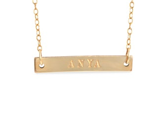 Name Bar Necklace, 14K yellow gold, silver, rose gold, nameplate Mothers Day gift mom, nana bridesmaids anniversary present CLASSIC NAME BAR