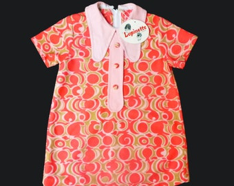 Vintage 60's Psychedelic Mod Dress British Made Size 5-6 Years