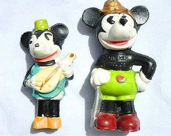 Mickey Mouse and Minnie Mouse 1930's Vintage Bisque Figurines Made In Japan Walt Disney