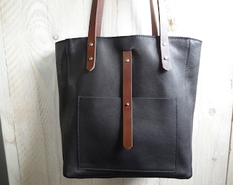 Black leather shoulder bag.