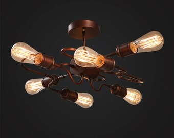 Rose Copper Mounted lamp - ceiling lighting - pendant lamp - edison bulb - industrial style - vintage lamp  - Edison bulb lamp
