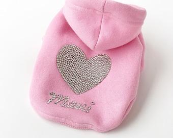 Pink Dog Hoodie || Swarovski Dog Hoodie || Dog Sweater || Warm Dog Clothes || Cute Dog Clothes || Custom Dog Hoodie ||
