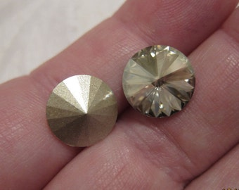 12mm, Swarovski, Art 1122 Faceted Crystal Rivoli, Crystal Silver Shade, Foiled - Available in 2, 4, 6, 10 & 20 Stone Pkgs and Factory Packs
