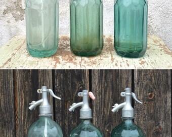 Vintage Seltzer Bottle, Aqua Blue Soda Seltzer, Faceted Glass Bottle, Siphon Bottle with Aluminum Top, Vintage Romanian Soda Siphon Bottle