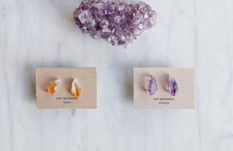 raw amethyst stud earrings