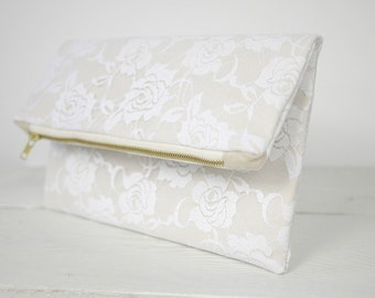White rose lace clutch, fold over lace purse | White Bridal Clutch | Wedding Clutch in White Lace