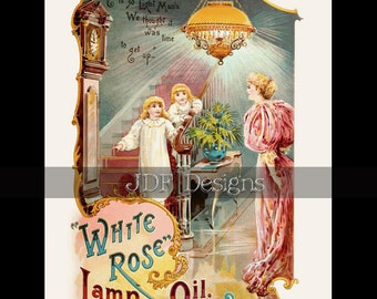 Instant Digital Download, Antique Victorian Graphic, Lamp Oil Ad, Advertisement, Mother & Children, Vintage Printable Image, Gaslight