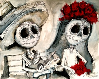 Limited Edition Drawing - Day of the Dead - Dia de los Muertos - Art by SLAZO for E. Castillo - 16x20
