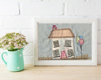 New Home art / Home Sweet Home / House art / housewarming gift / New Home gift / New home / Cottage art / house textile / textile art /