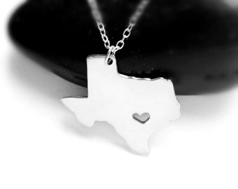 Silver Texas Charm Necklace,TX State Necklace ,Texas State Shaped Pendant,Texas State Necklace With A Heart