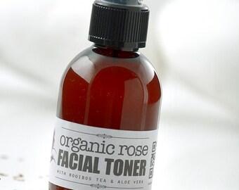 Organic Rose FACIAL TONER with Rooibos Tea • Moisturizing Face Toner, Skin Toner, Rose facial toner, Rooibos tea toner, face treatment
