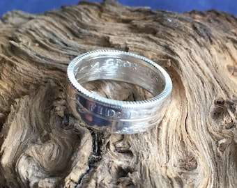 Sterling Silver Sixpence Coin Ring