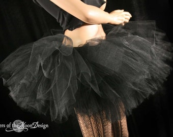Ultimate Midnight black tutu skirt extra extra poofy Adult dance bridal petticoat ballet gothic race - You Choose Size - Sisters of the Moon