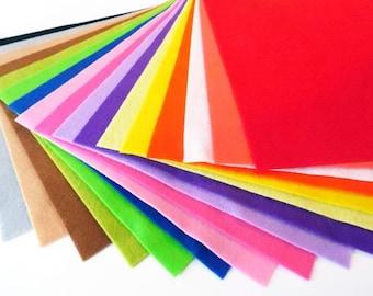 Felt sheets, pack of 17 colors, size 20cmx20cm