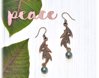 Olive Branch Copper and Pearl Dangle Earrings Peace Jewelry Nature Inspired Unique Gift
