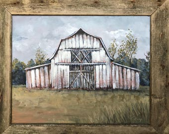 Framed -White Barn Painting   (61A)