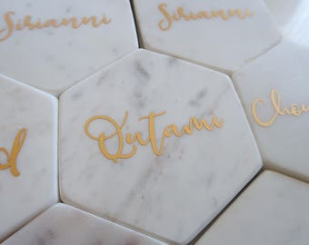 Set of 4: Custom marble hexagon PLACE CARD COASTERS, personalised, wedding, engagement, bridal party, bridesmaids, vinyl, gifts, bonbonniere
