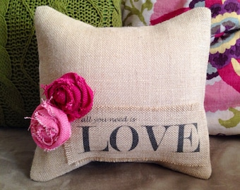 Burlap Love Pillow/Valentines Day Pillow