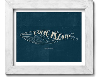 Humpback Whale Long Island Hand Drawn Lettering Nautical Print
