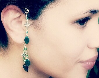Ear Cuff Fantasy Elemental Irish Emerald Green