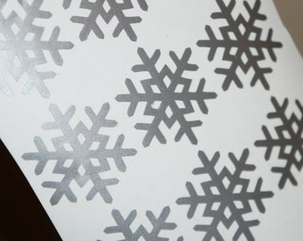 30 Snowflake Stickers, Christmas Stickers, Invitation Envelope Seal, Window Sticker Snowflake Decal, Removable Wallpaper, Holiday Home Decor