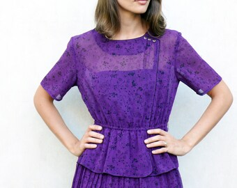 "Vintage pleated peplum dress, small - intense grape . . . . . ""Like"" our fb page for 10% discount"