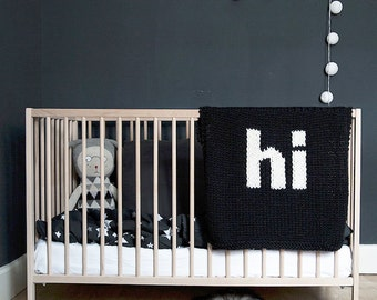 Knit Baby Blanket Hi Black and Cream Hand Knit for Bassinet