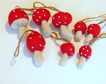Fabric Mushroom Ornaments Set of Eight