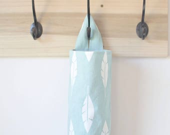 Plastic Bag Holder Dispenser Feather Silhouette in Canal Blue