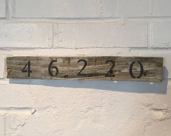 Customized Zip Code Reclaimed Wood Sign