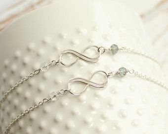 Set of Two Sterling Silver Infinity Bracelets with Your Choice of Birthstones