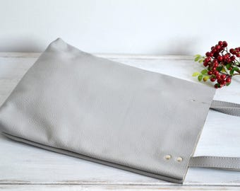 GREY LEATHER Everyday Tote Bag Pebbled Leather Laptop Bag Italian Grey Leather Tote - MADRID -