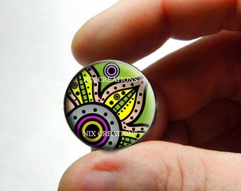 Glass Cabochon - Art Deco Floral Design 7 - for Jewelry and Pendant Making