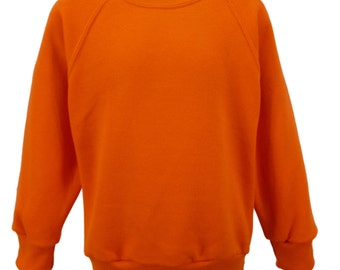 Orange Sweatshirt, cotton/polyester, raglan sleeves, soft brushed inside for warmth and comfort.   Made in England.  6 childs sizes. W10