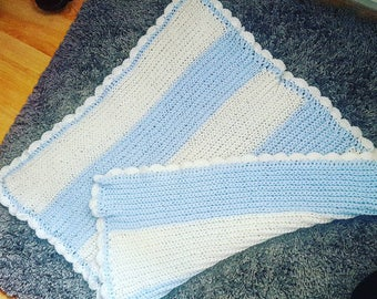 Baby Blue & White Blanket With Shell Border