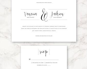 Printable Wedding Invitation - Minimal Invitation - Classic and Simple Design - Customizable Colors
