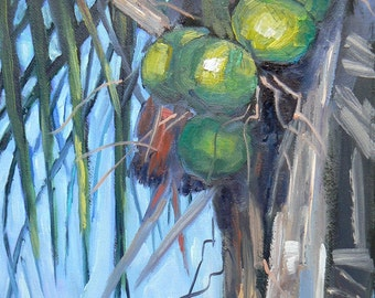 "Tropical Landscape Painting,Florida Art, Original Oil, 6x8 painting, ""Going Coconuts"", Free Shipping in US"
