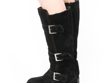 RARE Schwarze Vintage Buffalo Stiefel Größe 37/38 Schnallen Wildleder Schuhe Gefüttert Dark Grunge Punk Goth Gothic