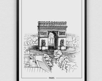 Paris, Architecture Print, Poster, Instant Digital Download, Gift, Christmas Gift, Minimalist, Printable Art, Modern Design