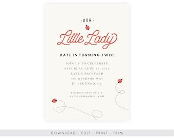 Ladybug Birthday Invitation w/ Photo, Ladybug Party Printable, Instant Download, Ladybug Party Invitation, Garden Party Invitation Printable