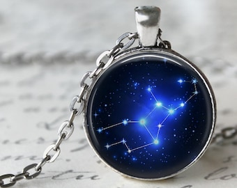 Virgo Constellation Zodiac Pendant Necklace or Key Chain - Choice of 4 Bezel Colors - Aug. 23rd - Sept. 22nd Birthday, Constellations, Space